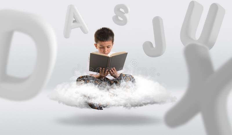 Ung pojke som får att sväva på molnet, medan läsa en bok vektor illustrationer