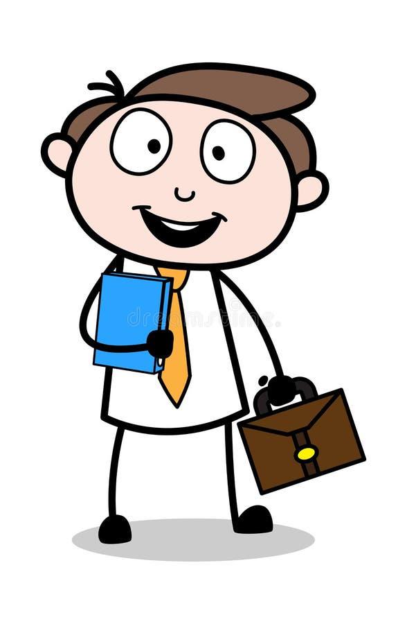Ung pojke som går för intervjun - kontorsaffärsmanEmployee Cartoon Vector illustration arkivbild