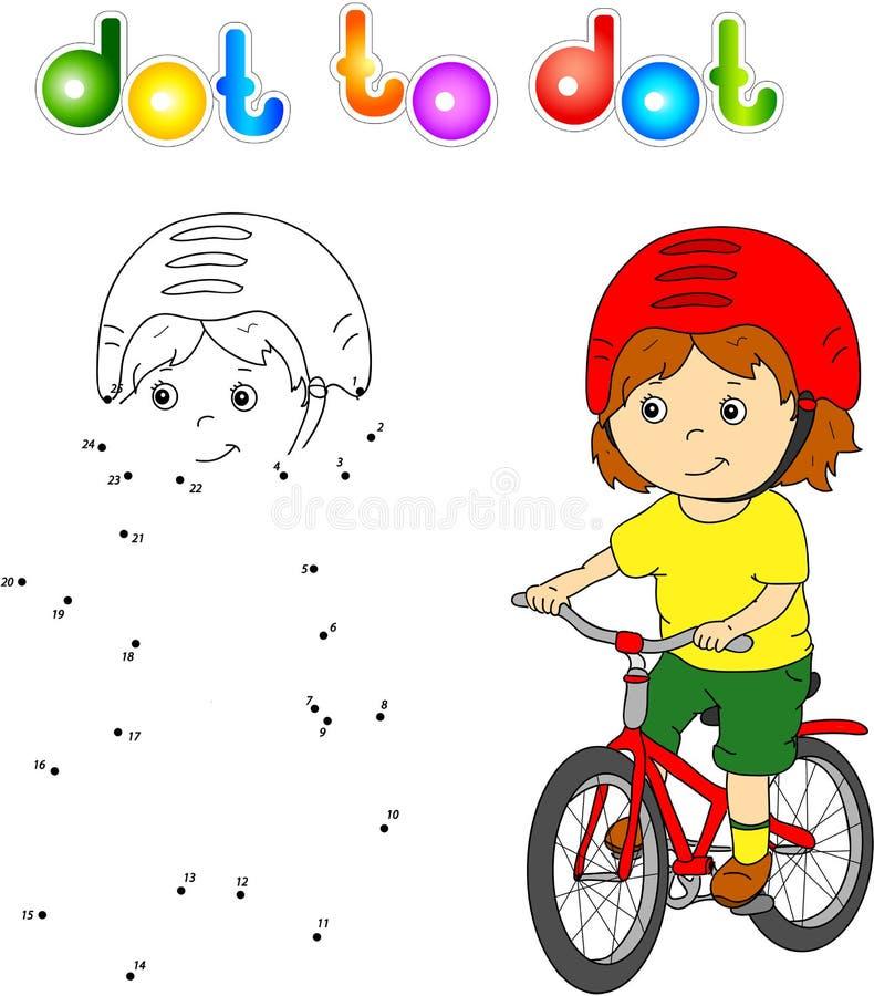 Ung pojke som rider en cykel i hjälm royaltyfri illustrationer