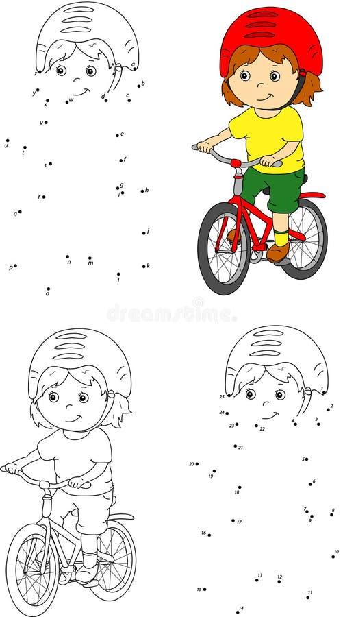 Ung pojke som rider en cykel i hjälm också vektor för coreldrawillustration färg royaltyfri illustrationer