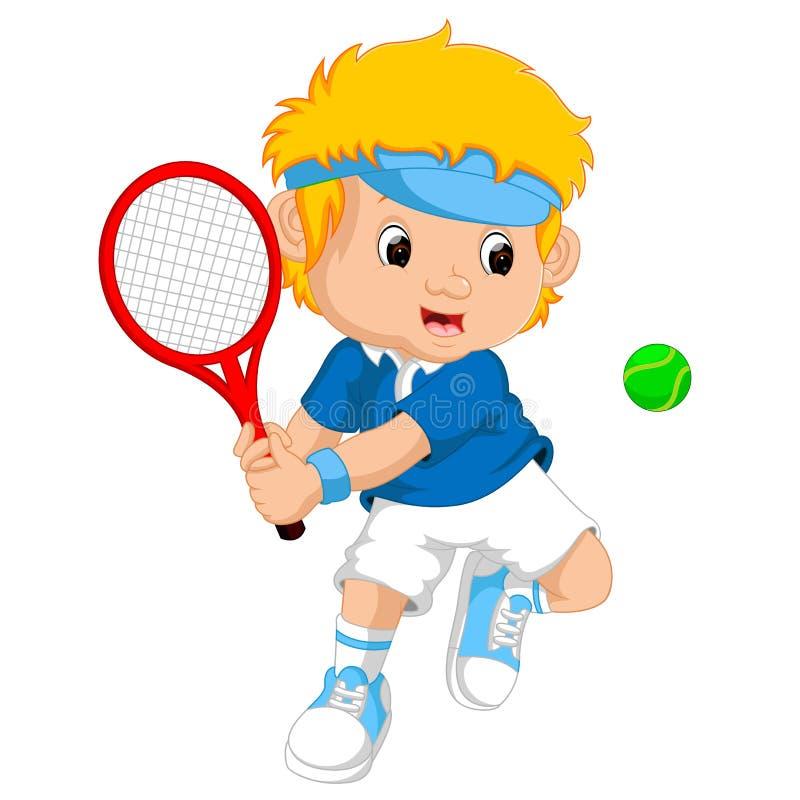 Ung pojke som spelar tennis med en racket vektor illustrationer