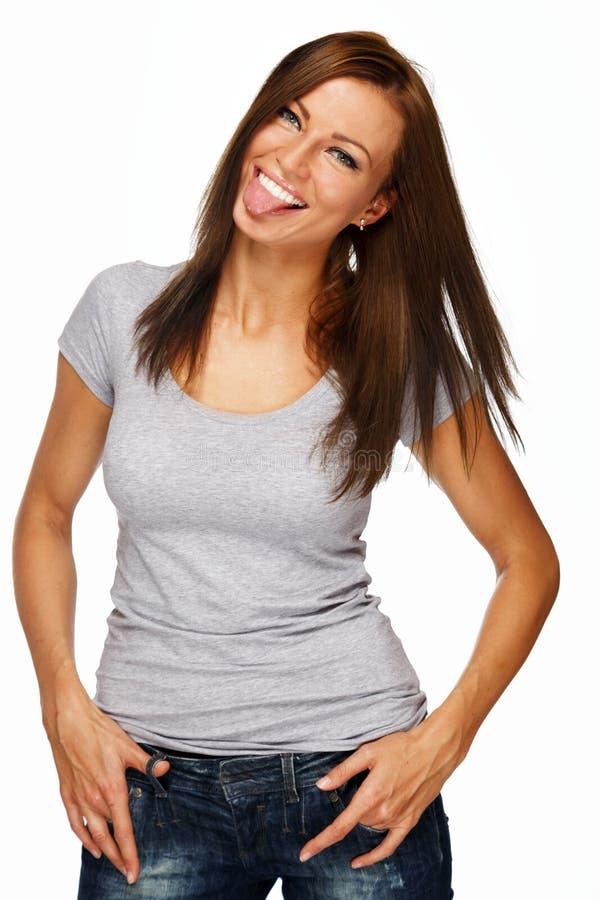 Ung positiv brunettflicka arkivfoto