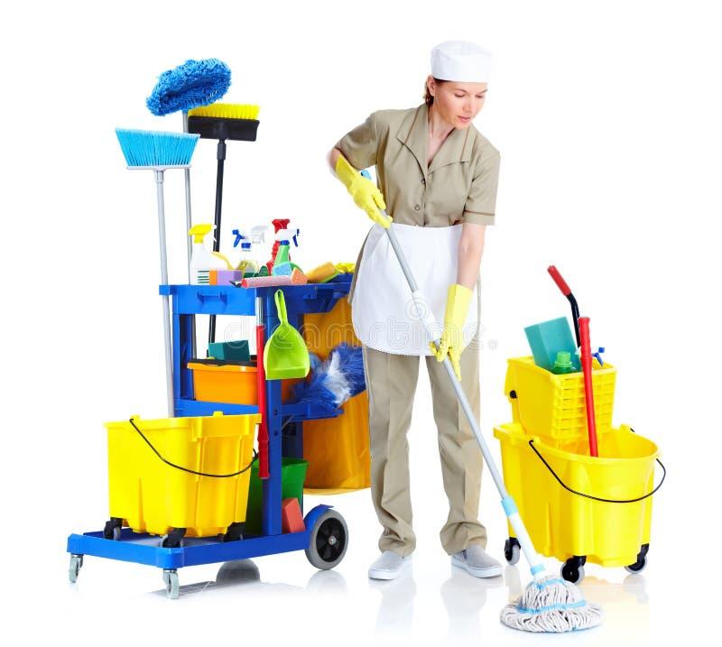 Ung rengöringsmedelhembiträdekvinna. fotografering för bildbyråer