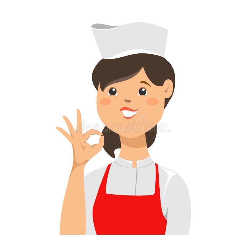 Ung s?ker kockkvinna i likformig som blinkar ett ?ga och g?r en gest det ok tecknet med hennes hand white f?r vektor f?r bakgrund royaltyfri illustrationer
