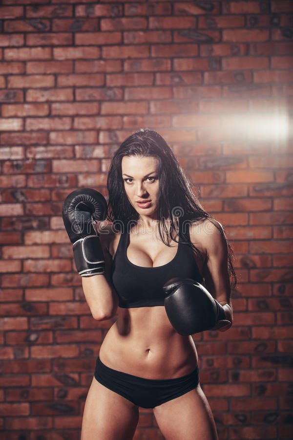 Ung sexig flicka med boxninghandskar, på royaltyfri bild