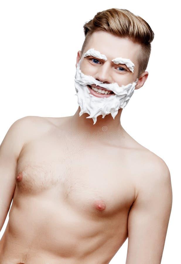 Ung shirtless man som isoleras på vit royaltyfri bild