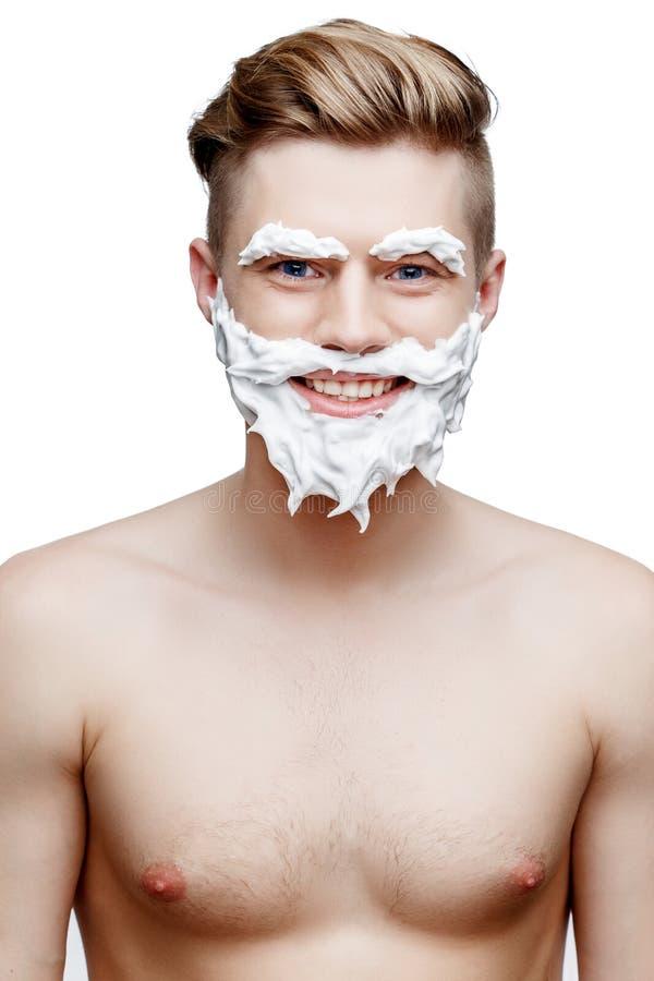 Ung shirtless man som isoleras på vit arkivfoton