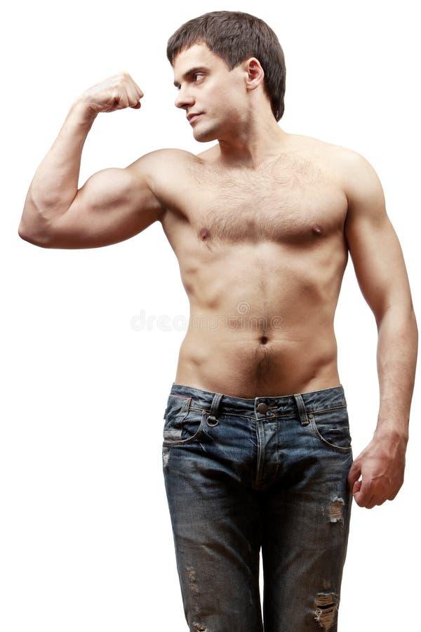 Ung shirtless muskulös man arkivfoto