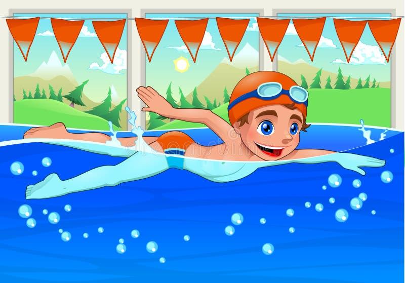 Ung simmare i simbassängen. royaltyfri illustrationer
