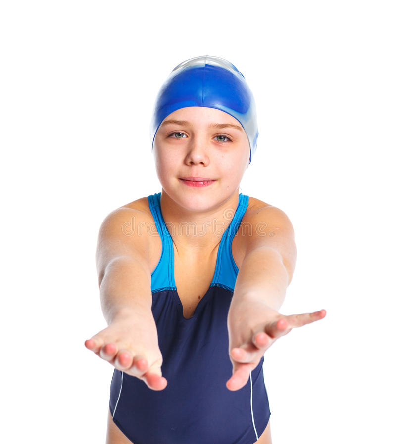 Ung simmareflicka arkivfoto