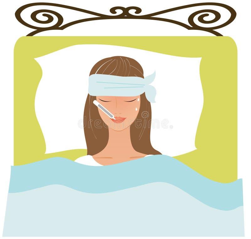 Ung kvinna som är sjuk i säng royaltyfri illustrationer