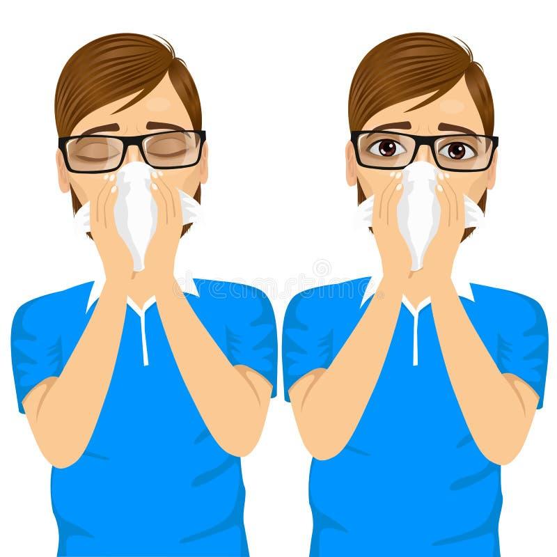 Ung sjuk man som lider dåligt allergi stock illustrationer