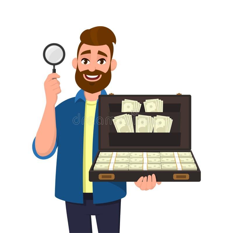 Ung skäggig manvisning/för rymma förstoringsglas och kort fall mycket av pengar-/kassa-/valutasedlar Sökande fynd, upptäckt royaltyfri illustrationer