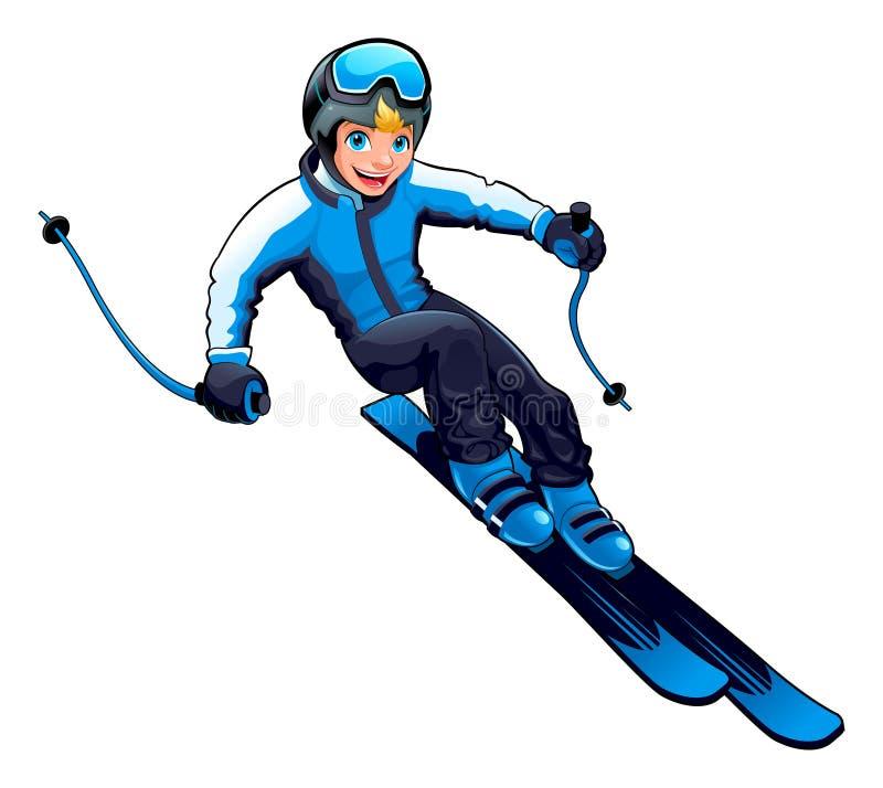 Ung skier royaltyfri illustrationer
