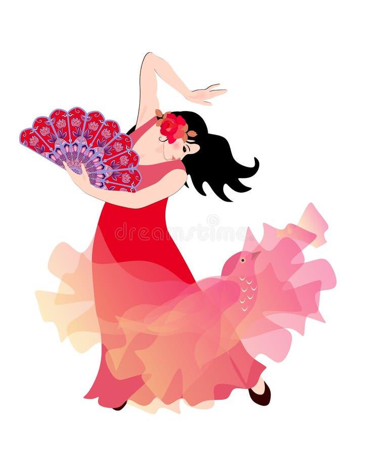 Ung spansk flicka eller zigenare i en röd klänning och med en fan i hennes hand som dansar flamenco som isoleras på en vit bakgru vektor illustrationer