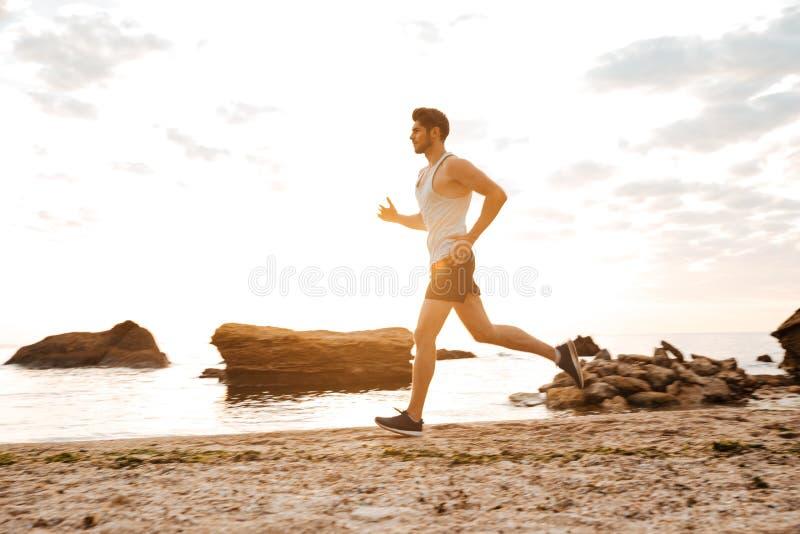 Ung sportig manidrottsman nenspring på den steniga stranden royaltyfri foto