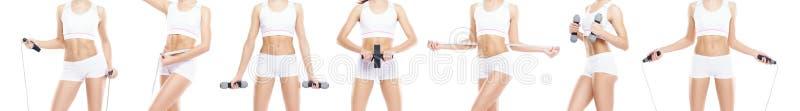 Ung, sportig och färdig flicka i baddräkt Isolerad bakgrund avkoppling f?r pilates f?r bollbegreppskondition arkivbilder