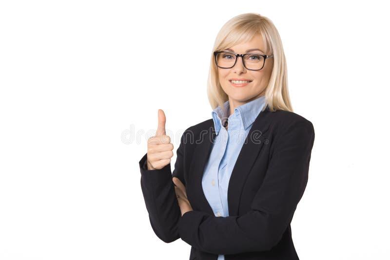 Ung stående för affärskvinna som isoleras på vit arkivbilder