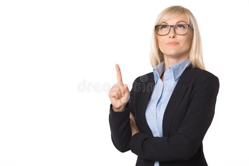 Ung stående för affärskvinna som isoleras på vit royaltyfri foto