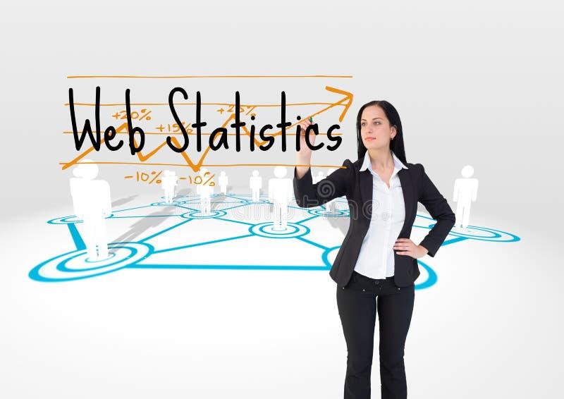 Ung STATISTIK för affärskvinnahandstilRENGÖRINGSDUK på skärmen Internetuppkopplingar bakom stock illustrationer