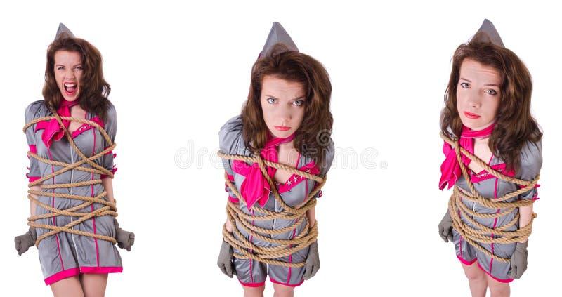 Ung stewardess som binds upp med ett rep arkivbilder