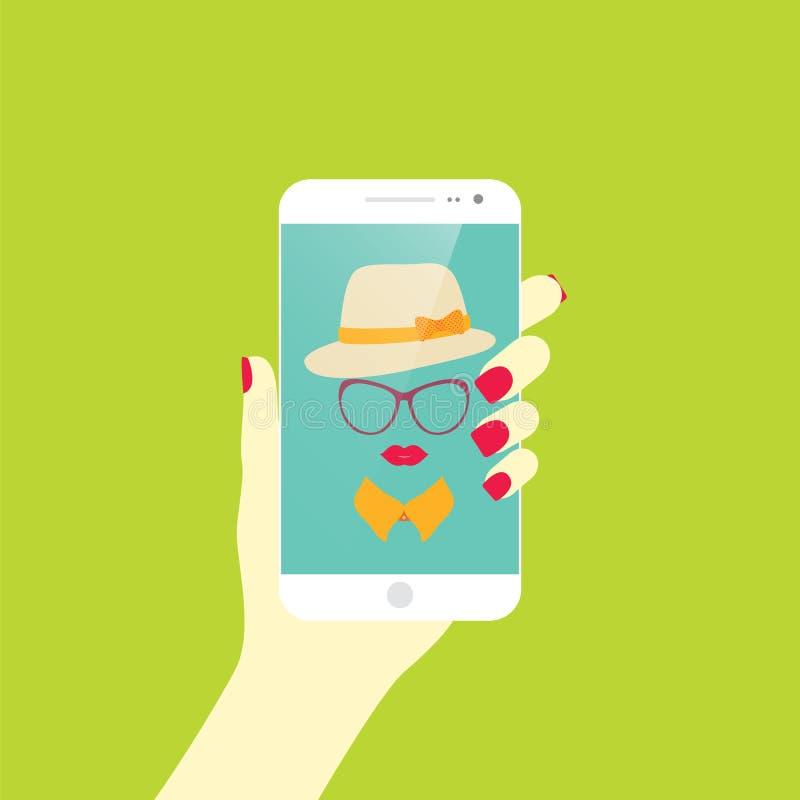 Ung stilfull flicka som tar självfotosymbolen Selfie stock illustrationer