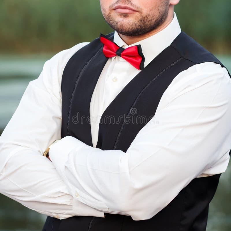 Ung stilfull man i en waistcoat, en vertikal stående av brudgummen, en stående på en bakgrund av naturen, floden och pir royaltyfria foton