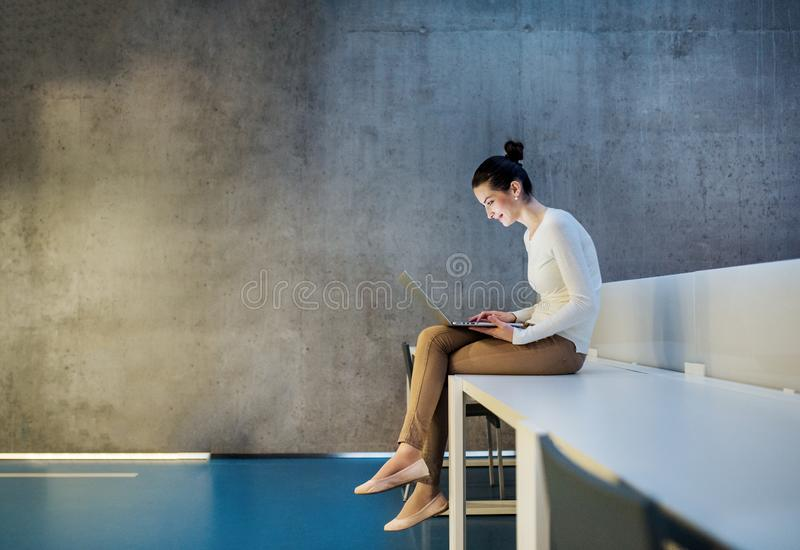 Ung student eller aff?rskvinna som sitter p? skrivbordet i rum i ett arkiv eller ett kontor, genom att anv?nda b?rbara datorn royaltyfri foto