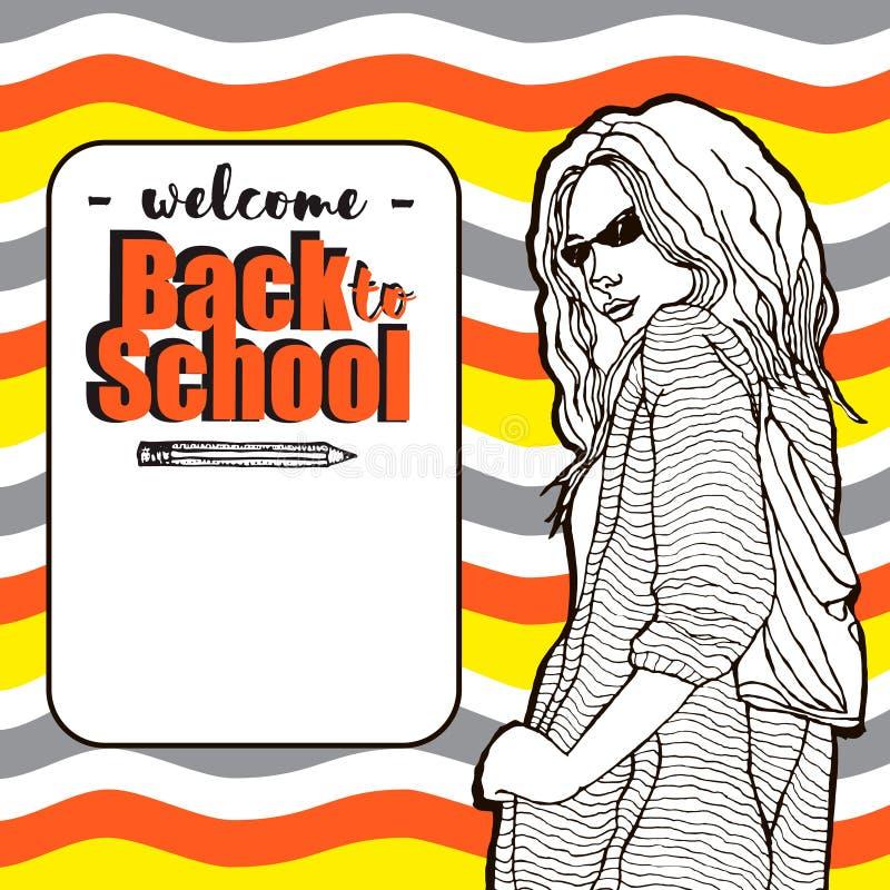 Ung studentflicka med exponeringsglas Välkomna tillbaka till skolainsidaramen med utrymme för din text på färgrik bakgrund för vå vektor illustrationer