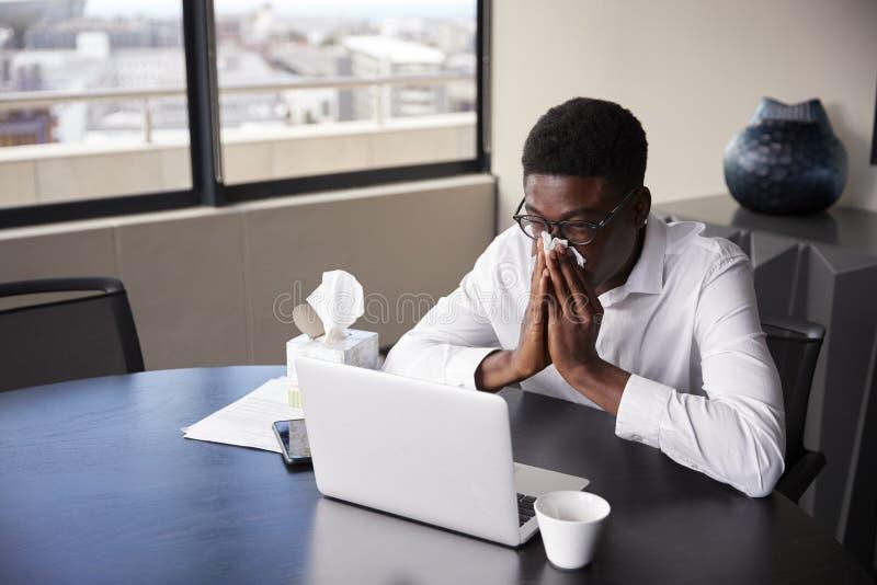 Ung svart affärsman som sitter på ett kontorsskrivbord som blåser hans näsa in i ett silkespapper, högstämd sikt royaltyfri fotografi