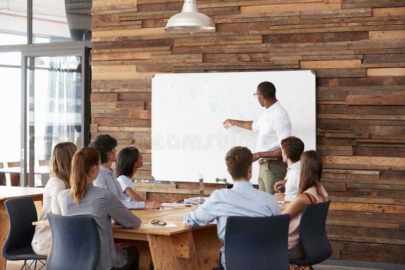 Ung svart man på whiteboarden som ger en affärspresentation arkivbild