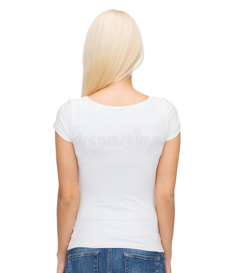 Ung t-shirt för kvinnablankowhite royaltyfri foto