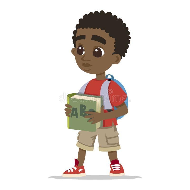 Ung teckenstående lycklig pojketecknad film gullig schoolboy Liten afrikansk unge Gulligt pyshuvudtecken vektor stock illustrationer
