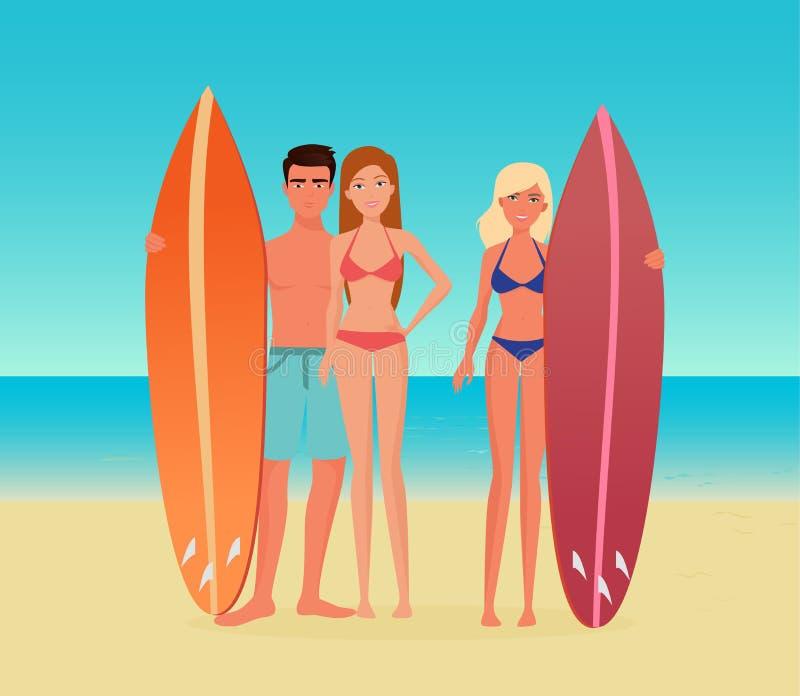 Ung tecknad filmbränninggrupp människor Grabbmannen och flickakvinnan med en surfingbräda på havshavet sätter på land stock illustrationer