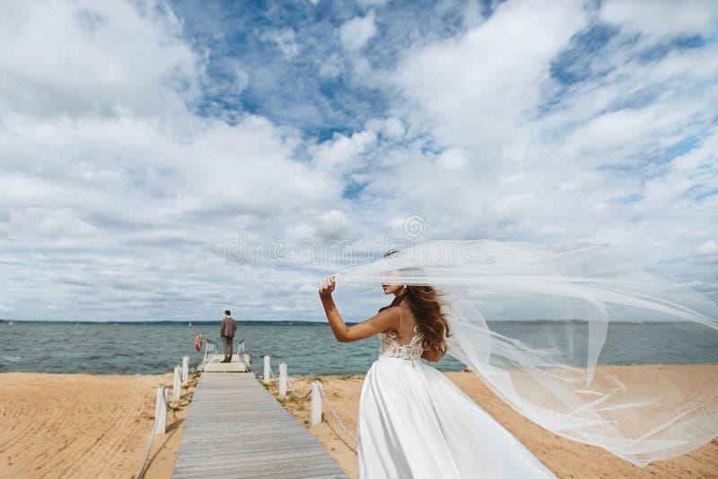 Ung trendig och härlig brunettmodellflicka för brud, i stilfull bröllopsklänning med en skyla som som fladdrar i royaltyfri fotografi