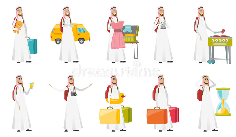 Ung uppsättning för illustrationer för vektor för muslimhandelsresandeman vektor illustrationer