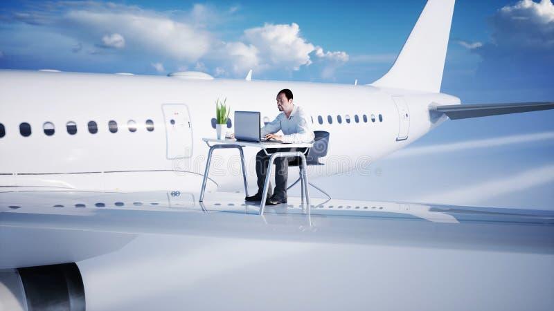 Ung upptagen affärsman som arbetar på flygflygplanet Afrikanskt manligt se in i skärmen av bärbara datorn på skrivbordet vektor illustrationer