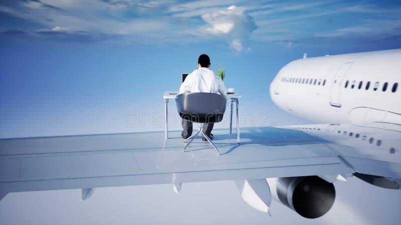 Ung upptagen affärsman som arbetar på flygflygplanet Afrikanskt manligt se in i skärmen av bärbara datorn på skrivbordet royaltyfri illustrationer
