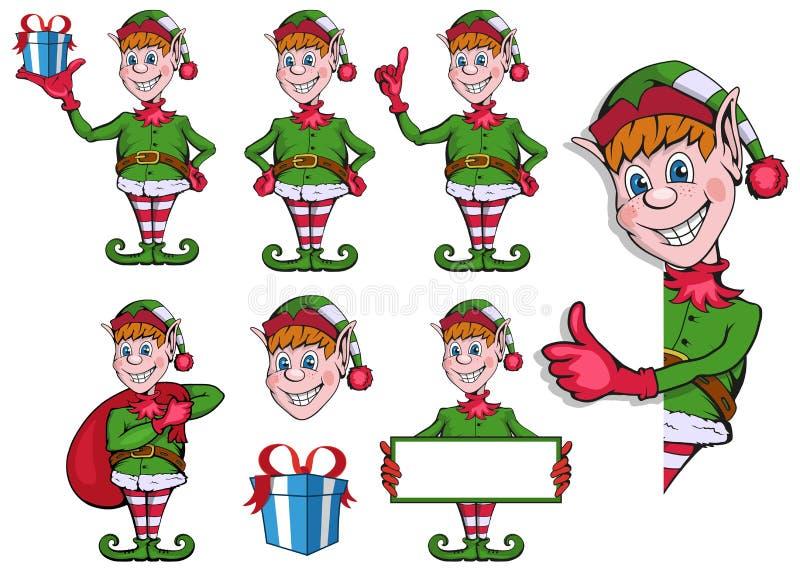 Ung ursnygg kvinna som julälva på guld- bakgrund med den tomma snirkeln Ställ in av olika älvor för jul Olika tecken för nytt år  vektor illustrationer