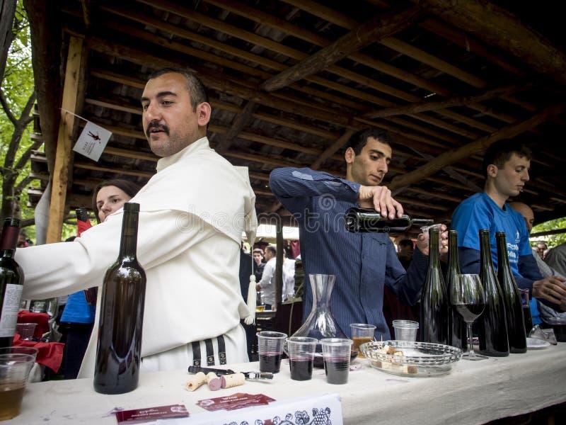 Ung vinfestival i Tbilisi arkivfoton
