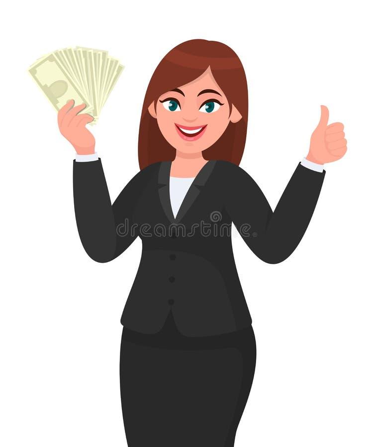 Ung visning för affärskvinna/rymmagrupp av pengar, kassa, dollar, valuta, sedlar i hand och att göra en gest som gör upp tummar vektor illustrationer