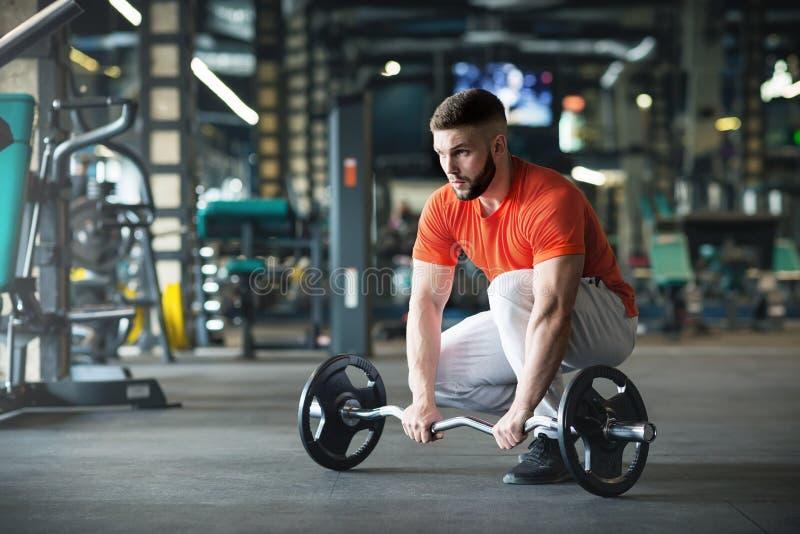 Ung vuxen kroppsbyggare som g?r att lyfta f?r vikt i idrottshall royaltyfri bild