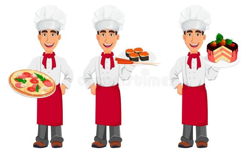 Ung yrkesmässig kock i likformig- och kockhatt royaltyfri illustrationer