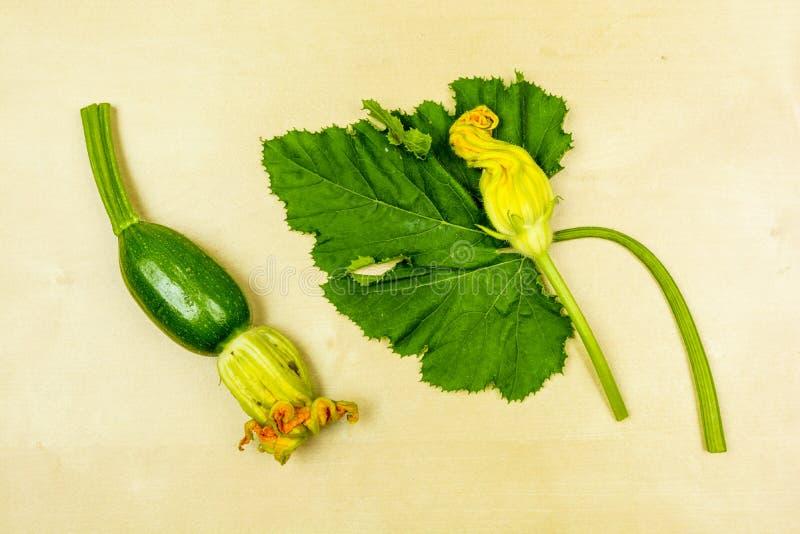 Ung zucchini, blomma och blad som framläggas på ett träbräde ovanför sikt royaltyfria bilder