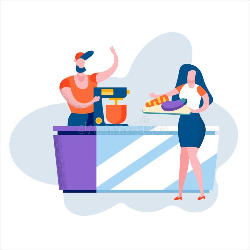 Unga älska par som tillsammans lagar mat på kök stock illustrationer