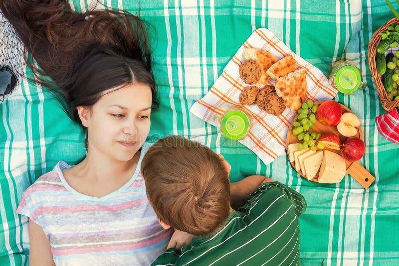 Unga älska par som vilar på en picknick på en sommardag arkivfoton