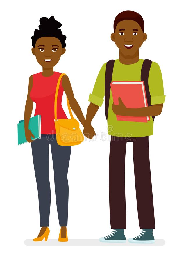 Unga afro amerikanska par av studenter med böcker och skolapåsar i en vit bakgrund Tecknad filmvektortecken stock illustrationer