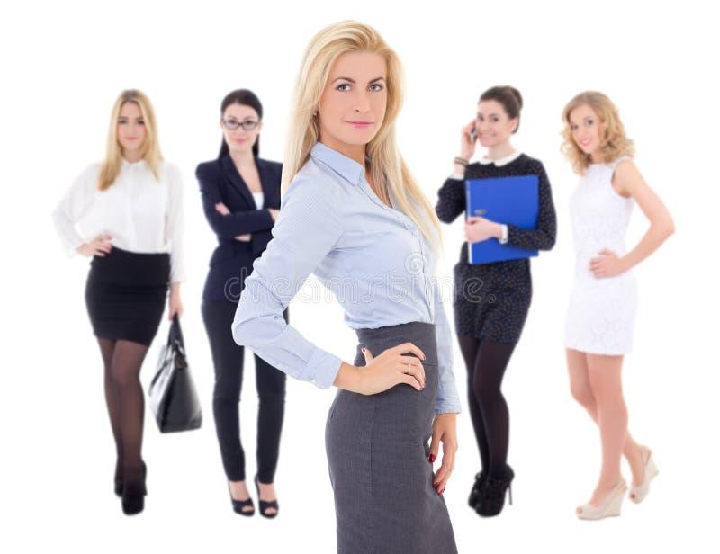 Unga attraktiva lyckade affärskvinnor som isoleras på vit royaltyfria bilder