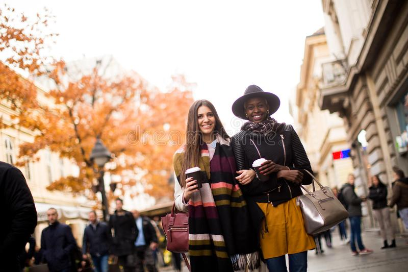 Unga blandras- vänner som går runt om staden royaltyfri foto