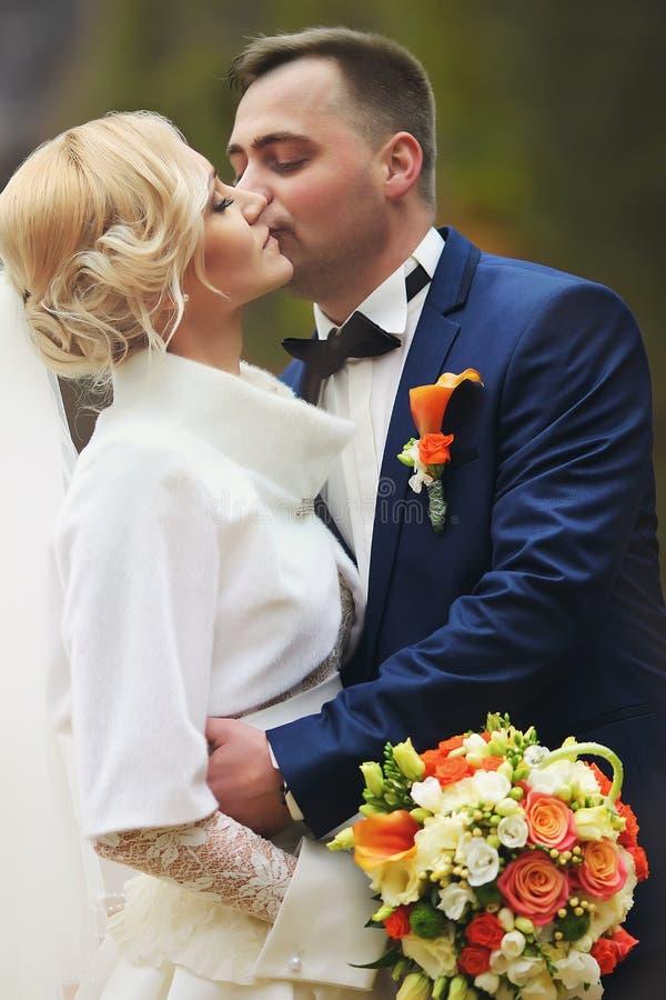 Unga brölloppar, härlig brud med brudgumståenden på royaltyfria bilder